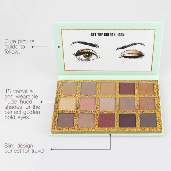 Makeup Nicole Miller Gold Digger Eye Shadow Palette 15 Gold Inspired Matte and Shimmery Eyeshadow Shades