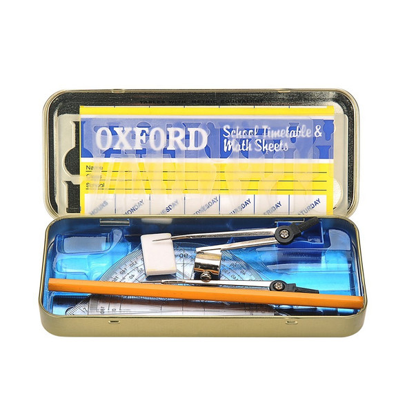 STATIONERY Oxford Maths Set Geometry Mathematics Instruments Set in Tin Protective Casing
