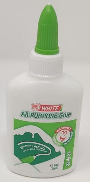 GLUE ALL PURPOSE WHITE WASHABLE 60G A-60