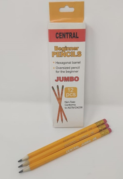 STATIONERY PENCIL CENTRAL JUMBO HB YELLOW 12PCS PACK 39002
