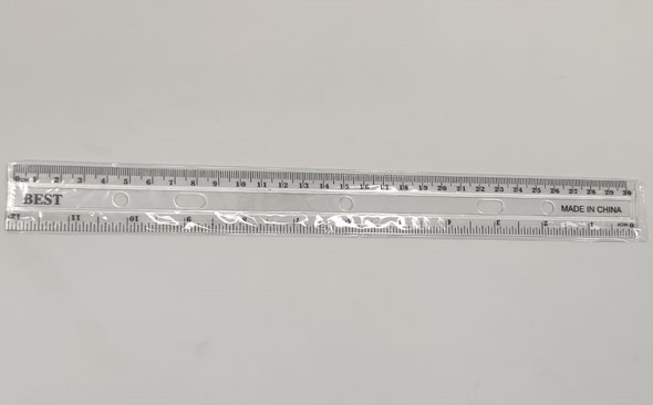 "STATIONERY RULER PLASTIC CLEAR 12"" 30CM BEST"