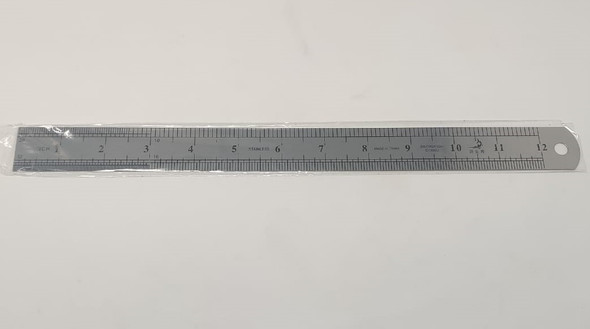"STATIONERY RULER SWORDFISH METAL SILVER 12"" 30CM"
