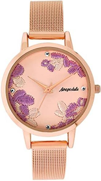 Watch Women Aéropostale Quartz Rose Flower Petal Dial Rose Gold Mesh Strap