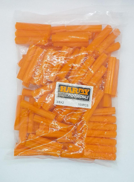 "WALL PLUG ORANGE 2"" X 3/8"" HARDY 100PCS PK"