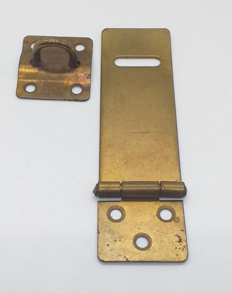 "HASP & STAPLE 4"" BRASS/BLACK SALE"