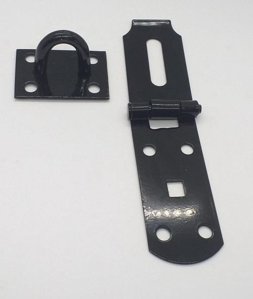 "HASP & STAPLE 8"" H/DUTY BLACK ULTRA STRONG"