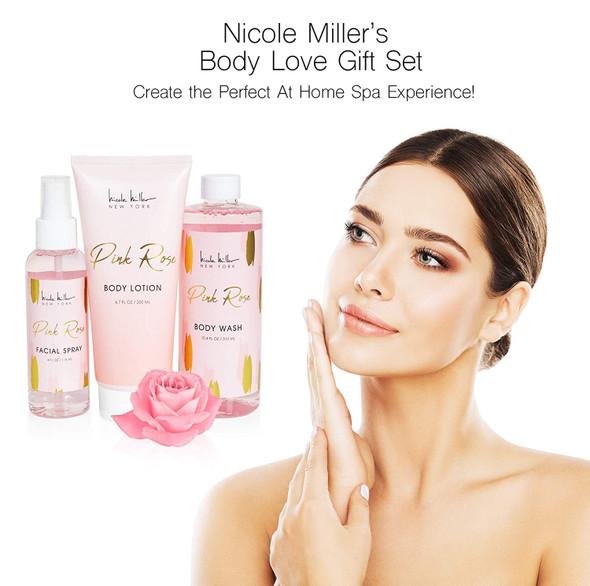 Gift Set Nicole Miller 3 Pc Pink Rose Body Care Set