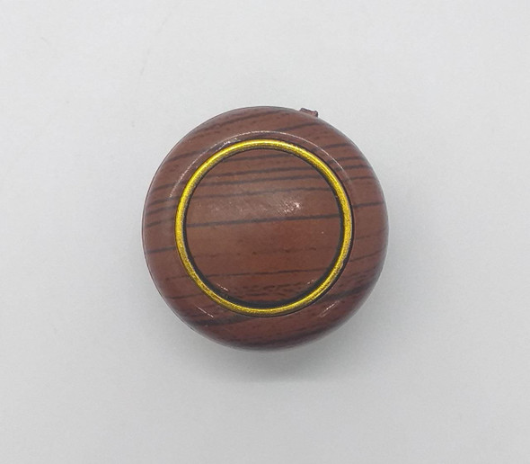 DRAW KNOB 107 LIGHT BROWN W/GOLD RING WOOD
