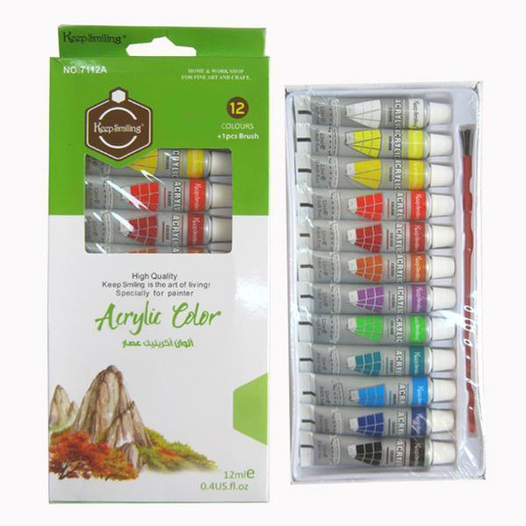 ARTIST PAINT ACRYLIC 12 COLOURS PACK KEEP SMILING 7112A