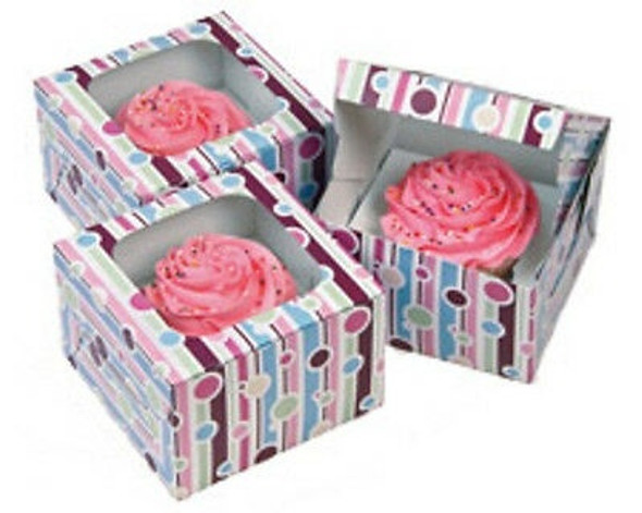 BAKING WILTON CUPCAKE BOXES 3PCS BUBBLE STRIPE 415-116