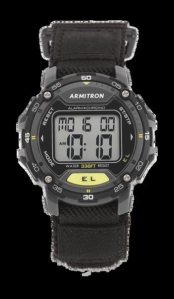 Watch Armitron Sport Unisex 40/8291BLK Grey Accented Digital Chronograph Black Nylon Strap Watch