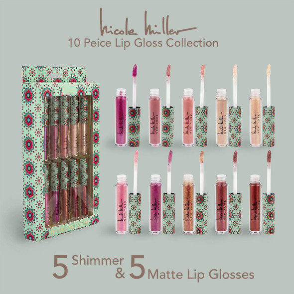 Makeup Lip Gloss Nicole Miller 10 Pack Shimmery Lip Glosses for Women and Girls, Long Lasting Color Lip Gloss Set with Rich Varied Colors (Green)