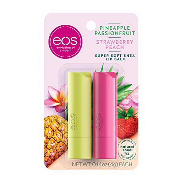 Makeup Lip Balm eos Super Soft Shea 24 Hour Hydration Lip Care to Moisturize Dry Lips Gluten Free 0.14oz 2Pcs Pack