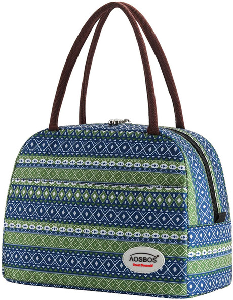 Bags Lunch for Women Insulated Lunch Tote with Front Pocket for Meal Prep Containers Aosbos Bohemian Blue