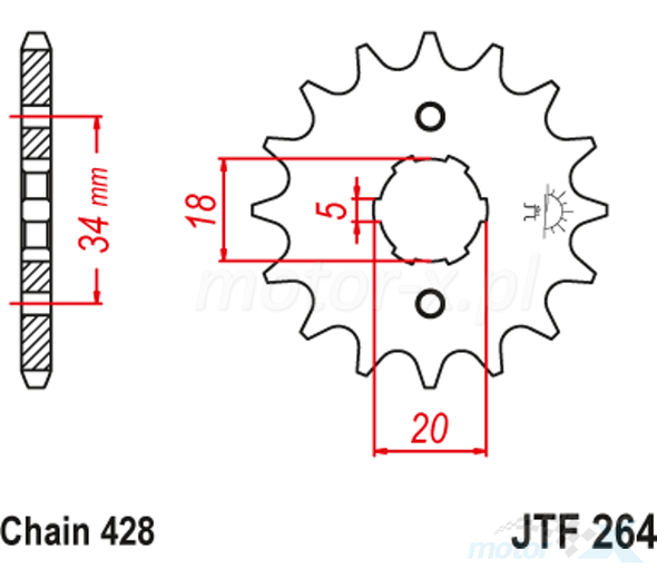 M/CYCLE SPROCKET JT JTF264.14 FRONT CUB90 2241A-C25