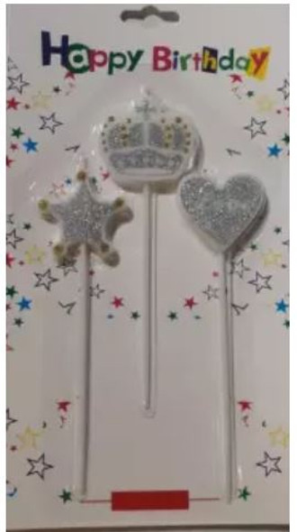 PARTY BIRTHDAY CANDLE 3PCS PACK CROWN STAR HEART LQ425 6114