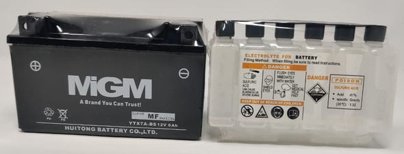 M/CYCLE BATTERY MIGM YTX7A-BS WITH ACID