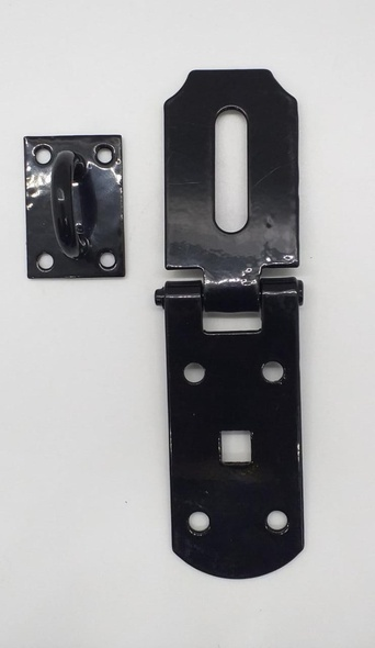 "HASP & STAPLE 6"" BLACK H/DUTY ULTRA STRONG"