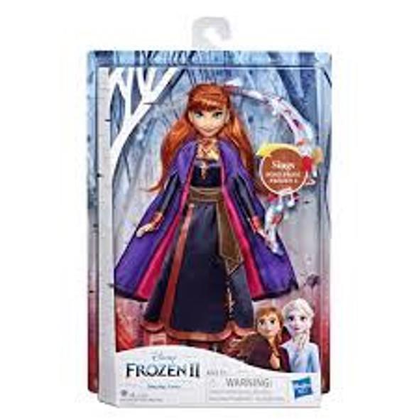 Toy Disney Frozen II Musical Singing Anna Doll Wearing Purple Light Up Dress