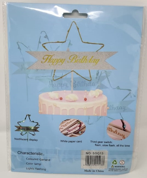 PARTY CAKE TOPPER HAPPY BIRTHDAY IN WIRE STAR SSQ13