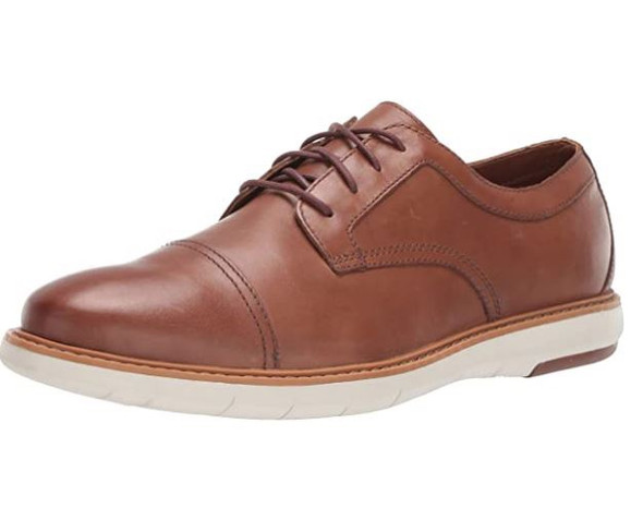 Footwear Clarks Men Draper Cap Oxford Tan Leather With White Outsole