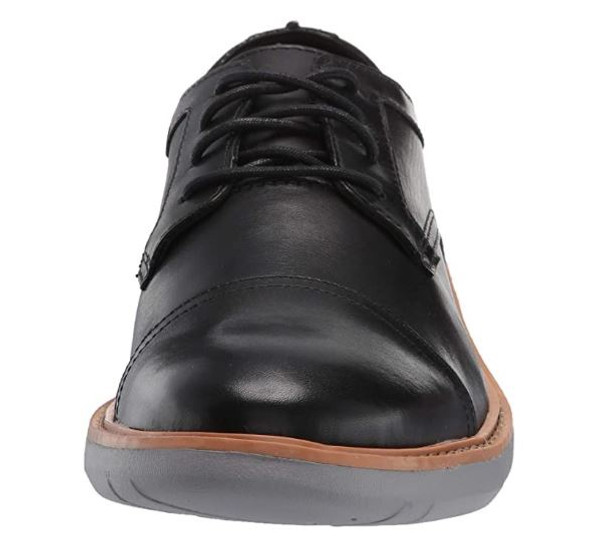 Footwear Clarks Men Draper Cap Oxford Black Leather With Grey Outsole