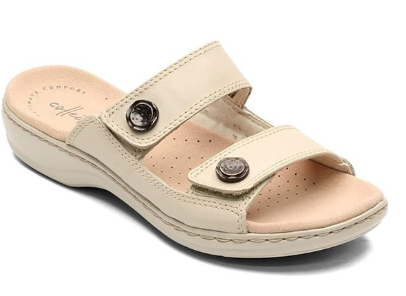 Footwear Clarks Women's Leisa Glow Slide Sandal Ivory Leather