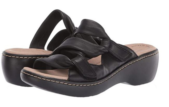 Footwear Clarks Women's Delana Jazz Sandal Black Leather