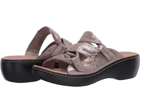 Footwear Clarks Women's Delana Jazz Sandal Pewter Metallic Synthetic