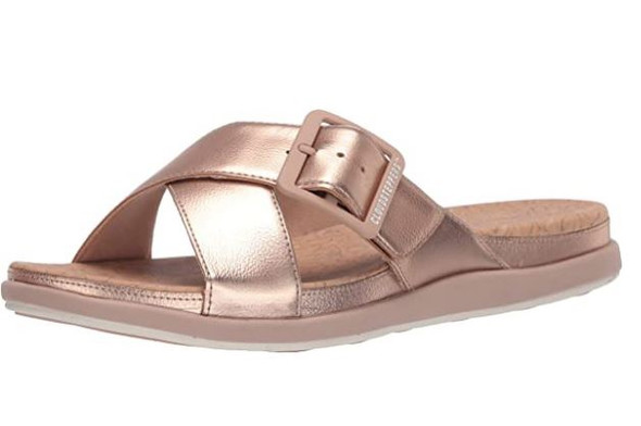 Footwear Clarks Women's Step June Shell Sandal Rose Gold Synthetic