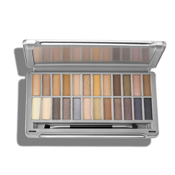 Makeup Ellen Tracy Eye Shadow Palette with Mirror 24 Varied Shades from Nudes to Smokey in Shimmery and Matte Eyeshadow Shades