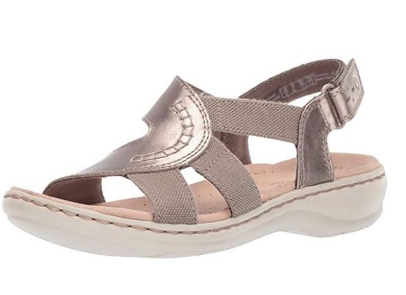 Footwear Clarks Women's Leisa Joy Pewter Metallic Leather Textile