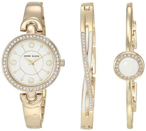 Watch Set Anne Klein Women's Swarovski Crystal Accented Watch and Bracelet Set