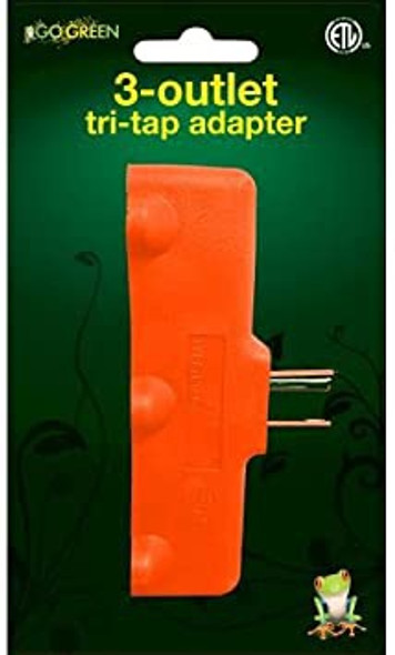 ADAPTER SPLITTER 3 OUTLET STRAIGHT PLUG GG-03418OR GO GREEN