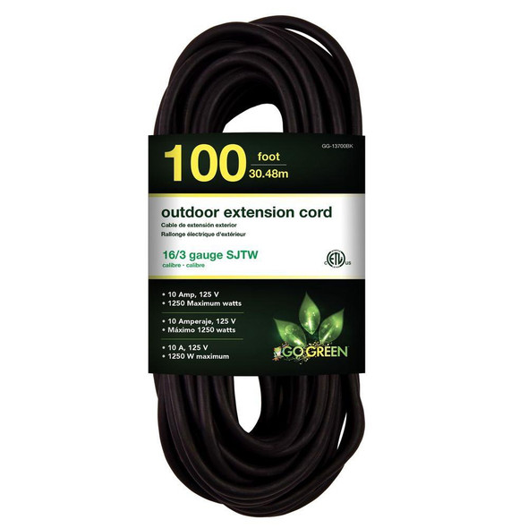 EXTENSION CORD OUTDOOR 100' GO GREEN GG-13700BK 16G
