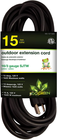 EXTENSION CORD OUTDOOR 15' GO GREEN GG-13715BK 16G