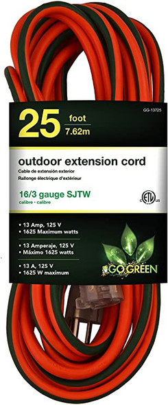 EXTENSION CORD OUTDOOR 25' GO GREEN GG-13725 16G