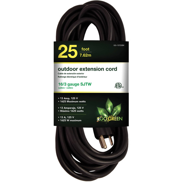 EXTENSION CORD OUTDOOR 25' GO GREEN GG-13725BK 16G