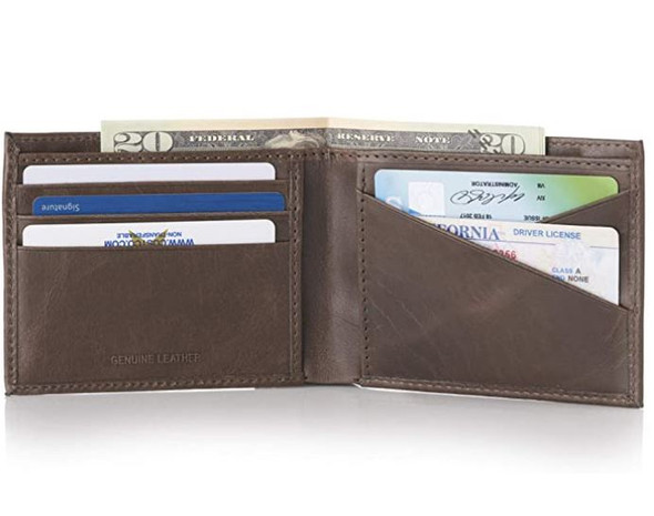 Wallet Men Alpine Swiss Double Diamond RFID Bifold Wallet with Divided Bill Section