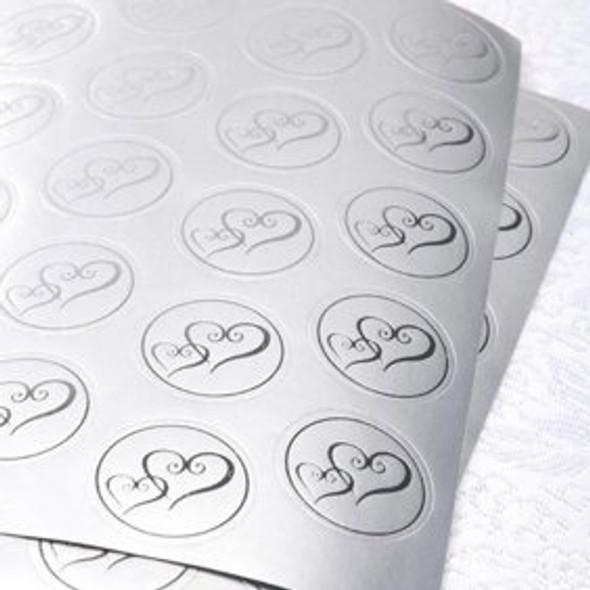 Party Wilton Envelope Decorating Silver Heart Seals 50PCS Pack 1008-628