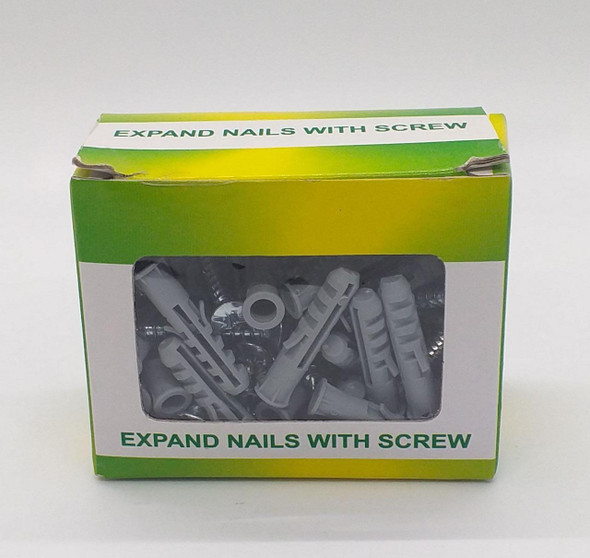 WALL PLUGS 6MM EXPAND NAIL WITH SCREW 50PCS