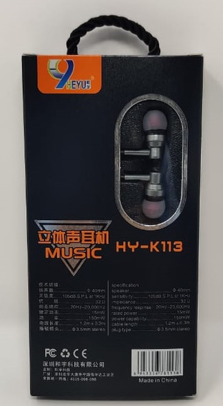 EARPHONES WITH MIC HEYU HY-K113