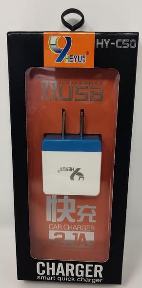 CHARGER USB ADAPTOR HEYU HY-C50 2.1A DUAL PORTS SMART QUICK