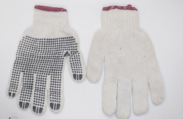 GLOVES CLOTH RED & BLK & BLUE DOTS RUBBER
