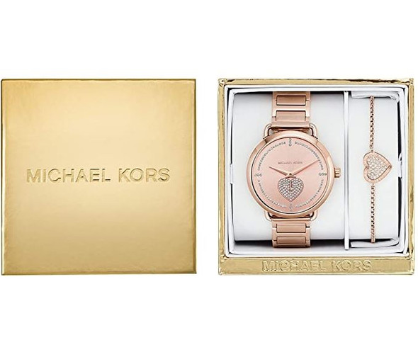 Watch Set Michael Kors Women's Portia Three-Hand Rose Gold-Tone Stainless Steel Watch MK4468