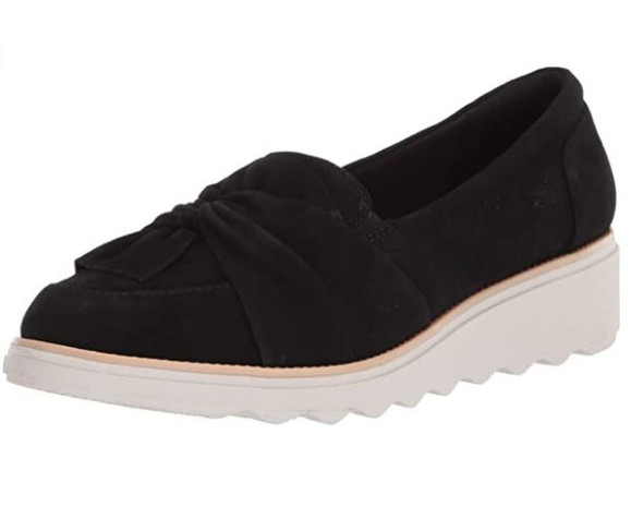 Footwear Clarks Women's Sharon Dasher Loafer Black Suede With White Outsole