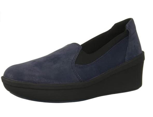 Footwear Clarks Women's Step Rose Moon Platform Navy Textile