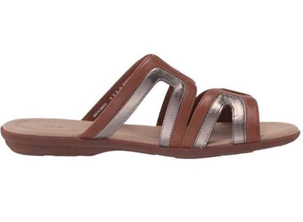 Footwear Clarks Women's Ada Lilah Flat Sandal Tan Combi Leather/Synthetic
