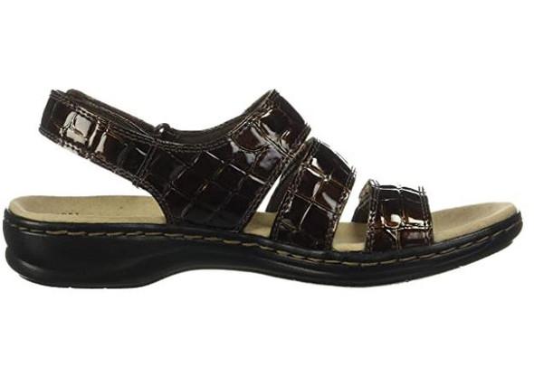 Footwear Clarks Women's Leisa Melinda Sandal Brown Patent Crocodile Synthetic