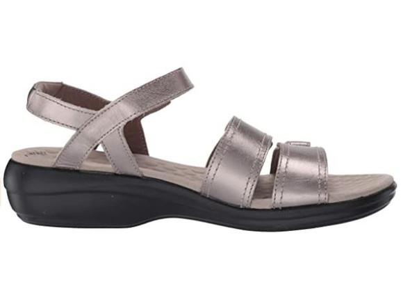 Footwear Clarks Women's Alexis Shine Sandal Pewter Metallic Leather